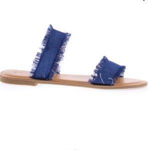 Denim slip on sandals size 7